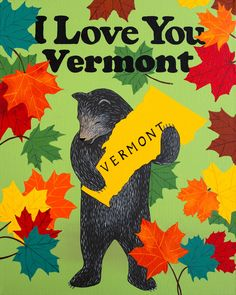 Our I Love You Vermont Print celebrates the Green Mountain State. Designed by Annie Galvin at 3 Fish Studios in San Francisco, California, and printed on-site in the Outer Sunset with 8-color UltraChrome K3™ inks on 300 gsm Hot Press Bright paper. Archival, highest possible quality.