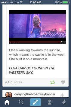"""So if you care to find me, look to the western sky!"" Whoa. Elsaba crossover! Idina Menzel the best characters."