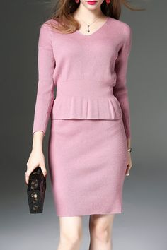 SWEETSMILE -  V Neck Knitwear and Bodycon Skirt