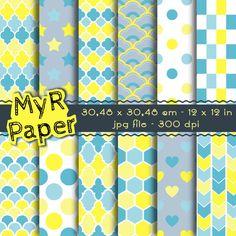 Digital Paper  Instant Download  Polkadots Hexagon by MyRpaper