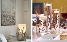20 Idee decorative che doneranno alla nostra casa l'atmosfera autunnale. Come? Con dei semplici rametti Driftwood Projects, Garden Crafts, Sweet Home, Candles, Crafty, Christmas, Handmade, Inspiration, Drift Wood