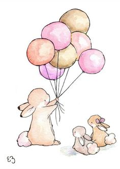 What could be better than a balloon bouquet? Two bunny friends to share it with! Imbued with timeless charm, this precious print on archival art paper adds imagination to a new nursery or playroom. Paper / inkMade in the USA Animal Drawings, Cute Drawings, Lapin Art, Image Deco, Art Mignon, Printed Balloons, Bunny Art, Cute Illustration, Nursery Art