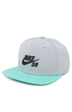Nike SB goes with a two tone snapback hat that can be found at PacSun. The Nike SB Icon Snapback Hat has a simple logo on front and a logo loop on back.    Nike SB logo on front    Raised embroidery    Stiffened front    Black adjustable snapback with logo loop    Flat bill    One size fits most    Spot clean    100% wool    Imported