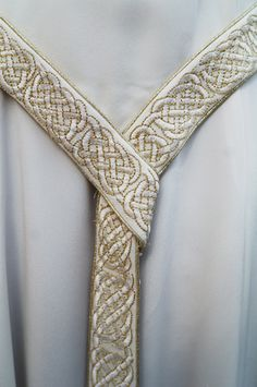 Draped belt on one of Lindsay's medieval wedding gowns