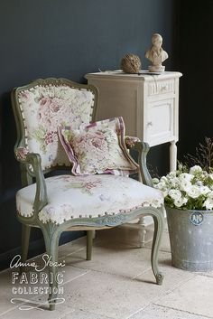 "Great Annie Sloan Chair....""Faded Roses"" fabric with Chateau Grey Chalk Paint."