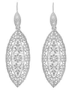 Art Deco Dangling Leaf Sterling Silver Filigree Diamond Earrings $120.00 http://www.antiquejewelrymall.com/e171wd.html