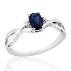 Sapphire and Diamond Ring - Size 8.5 * You can get more details by clicking on the image.