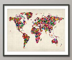 Butterflies Map of the World Map Art Print 18x24 inch by artPause, £14.99
