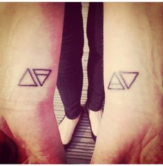 Fire, earth, air, water. Wrist tattoo. Elements. Triangles.