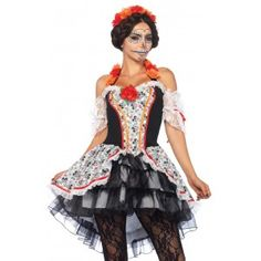 Lovely Calavera Sugar Skull Womens Costume Price: $55.00  Sugar Skull Senorita costume has a high/low Day of the Dead sugar skull printed dress with zipper back and lace sleeves floral straps and layered ruffle tulle skirt. Comes with the floral headband. Also comes in plus sizes.  Other items shown sold separately.  #cosplay #costumes #halloween