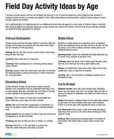 Field Day Activity Ideas by Age