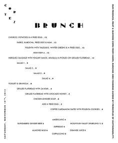 Menu design for Cortez by Britt Grilled Flatbread, Yogurt Sauce, Egg Dish, Brunch Menu, Menu Items, Menu Design, Chorizo, Typography, Design Inspiration