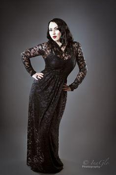 Black long sleeved lace gown, £165.00 on The Black Wardrobe Model: Whiskey Raven Photographer: Glo Mason/InaGlo Photography
