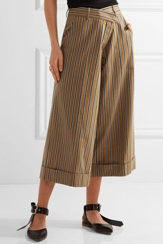 Monse - Striped Cotton-blend Twill Wide-leg Pants - Tan - US
