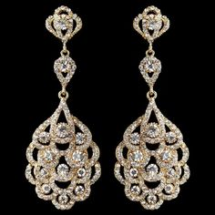 Light Gold Vintage 1920's Inspired Wedding Earrings - sale! - Affordable Elegance Bridal -