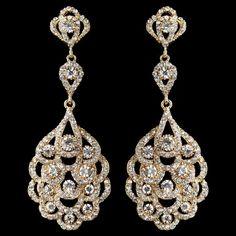 Light Gold Vintage 1920's Inspired Wedding Earrings