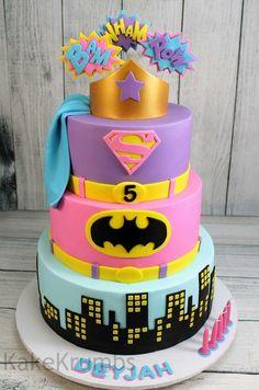 Girly action hero cake, batman,  superman and wonderwoman!!!!