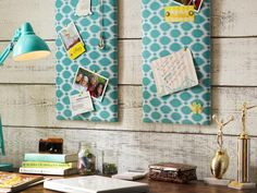 fabric over cork board - love for a command center wall or behind a desk