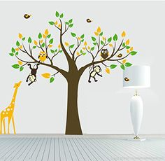 Yanqiao Cartoon Animal Monkey Giraffe Owls Wall Sticker Diy Posters Removable Art Decals for Kids Rooms Decoration >>> Learn more by visiting the image link.