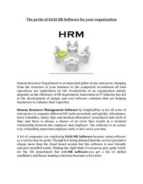 The perks of SAAS HR Software for your organization