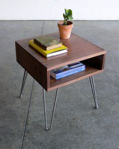 Hairpin Leg Walnut Top Side Table Via