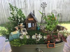 24 Creative DIY Fairy Garden Ideas Homemade www. Garden Ideas Homemade, Wheelbarrow Garden, Mini Fairy Garden, Fairy Gardening, Gardening Tips, Fairy Furniture, Wooden Furniture, Ideias Diy, Christmas Fairy