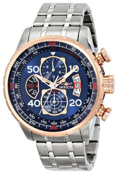 Invicta Men's Aviator Blue Dial Steel Bracelet Chronograph Compass Watch with SYB at price: New! Invicta Men's Aviator Blue Dial Steel Bracelet Chronograph Co Casual Watches, Cool Watches, Watches For Men, Men's Watches, Wrist Watches, Latest Watches, Fashion Watches, Men's Fashion, Stainless Steel Bracelet