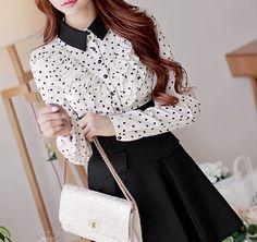 Apricot black love mosaic flounced bottom section temperament long-sleeved dress shirt
