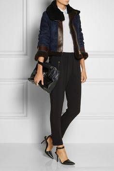 Burberry Brit shirt, Maison Martin Margiela rings, Dominic Jones ring, Stella McCartney pants, Alexander Wang shoes, Lanvin bag, Acne shearling jacket