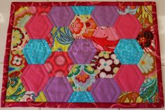 Hexie Mug Rug Placemat tutorial... I love quilted placemats. Not sure I can handle all this hand sewing though but maybe I'll try....