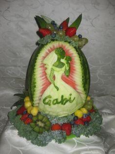 Fruit and Vegetable carving. Artistic platter and edible bouquet arrangements. Edible Bouquets, Fruit And Vegetable Carving, Buffet, Fruits And Vegetables, Bridal, Watermelon, Dream Wedding, Shower, Canning