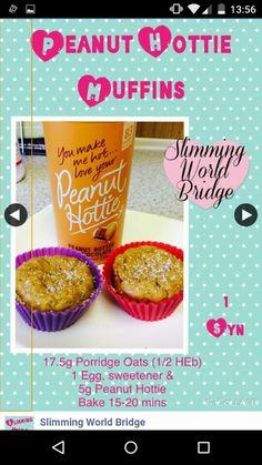 Peanut hottie muffins from slumming world bridge on facebook
