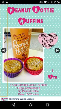 Peanut hottie muffins from slimming world bridge on facebook