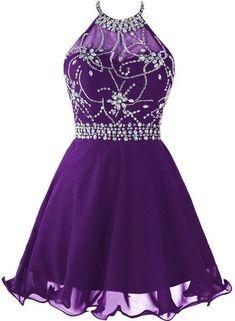 Beautiful Purple Chiffon Halter Beaded Homecoming Dress, Knee Length P – BeMyBridesmaid Halter Top Prom Dresses, Junior Homecoming Dresses, Vestidos Halter, Beaded Prom Dress, Hoco Dresses, Dance Dresses, Pretty Dresses, Beautiful Dresses, Evening Dresses