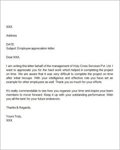 Sample Employee Thank You Letters For The Workplace Letter Employer Download Free Documents Pdf Word Appreciation