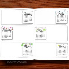 """Instagram post by A Hayden: """"Finished up my future log layout last week. It's hard to see but June has a sun and some bees ! Looking forward to filling in the first 6 months of 2018. #bulletjournal """""""