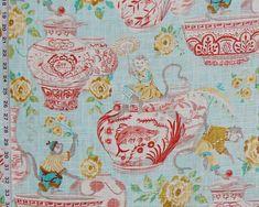 Aqua blue monkey fabric orange Canton porcelain china