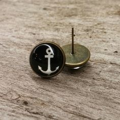Boucle d'oreille ancre à bateau Cufflinks, Stud Earrings, Accessories, Jewelry, Anchor, Hunters, Boucle D'oreille, Locs, Jewellery Making