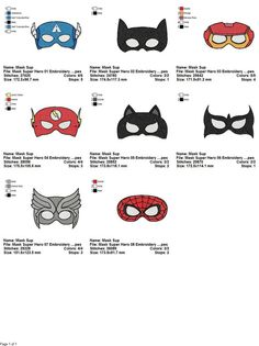 Package 8 Masks Super Hero Embroidery Designs 2 Sizes and 10 Formats  This listing is for a digital file to be embroidered. You will need an