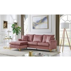 Living Room Sofa, Living Room Furniture, Living Rooms, Pink Couch, Pink Velvet Couch, Modular Sectional Sofa, Chaise Sofa, Furniture Deals, House Design