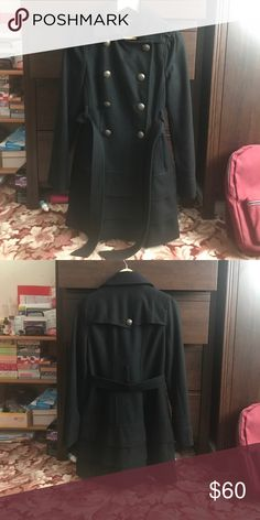 Express black peacoat Time for winter! Express black peacoat made with 51% wool. Ruffle bottoms give it an extra touch! Xs in size! But pretty spacious and can prob fit a size S girl in express clothing. Bronzed buttons. Express Jackets & Coats Pea Coats