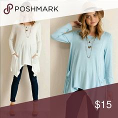 Long Sleeve Blue Tunic with Front Pockets Long Sleeve Blue Tunic with Front Pockets Tops Tunics