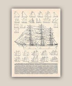 Nautical Print, Rigs of vessel drawings, LARGE SIZE 11''x14'' Print,  Seaside Prints, Marine Wall Decor,  Nautical art