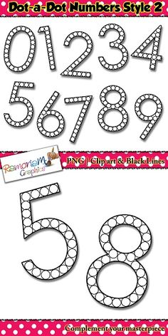 Numbers dot a dot clip art set consist of letter made of circles that are ideal to use with dot paints or bingo markers.
