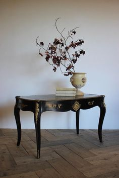 Late 19th century French ebonised desk in the Louis XV taste, with the original brass mounts in both sides and two drawers. Antique Desk, French Antiques, 19th Century, Drawers, Brass, The Originals, Interior, Style, Swag