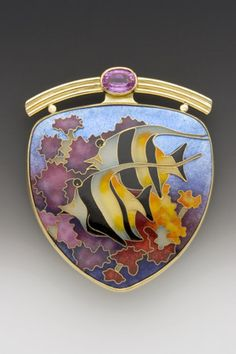 Moorish Idol Pin/PendantEnamel, 18k, 22k, and 24k gold, fine silver, and laboratory-grown pink sapphire  One-of-a-kind