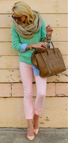 Pale pink pants! Love them dearly. Do not care for the rest of the outfit, but give me the pants the shoes and a white quarter sleeve button up blouse and I am sold