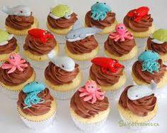 Zeedieren cupcakes