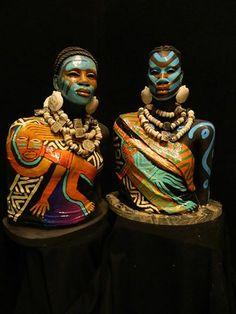 Dual sculptures by Akron artist Woodrow Nash
