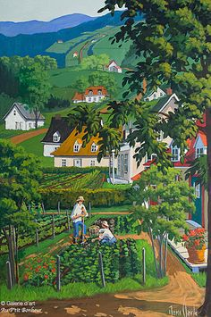 Rémi Clark, 'Le potager', x Landscape Art, Landscape Paintings, Bright Abstract Art, Art Gallery, Clark Art, City Farm, Summer Painting, Canadian Art, Aesthetic Pastel Wallpaper